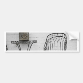 Metal chair and table bumper sticker