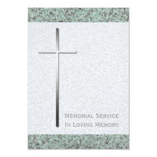 Metal Christian Cross Stone 2 Memorial Service Card