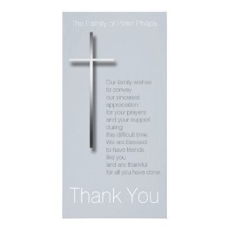 Metal Christian Cross Sympathy Thank You choose C Card