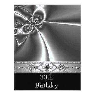 Metal Chrome Black White Style Silver 30th Card