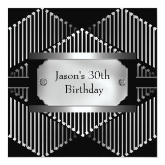 Metal Chrome Black White Style Silver Mens 30th Card