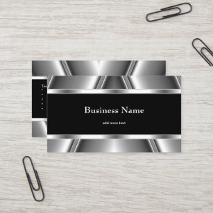 Chrome business cards zazzle metal chrome elegant black white style silver business card colourmoves
