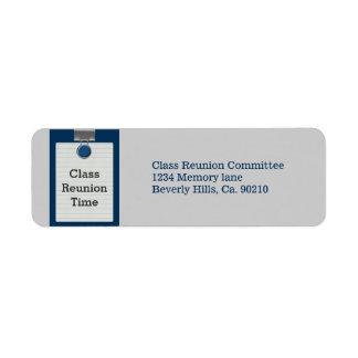Metal Clip Notepaper Blue Class Reunion Label