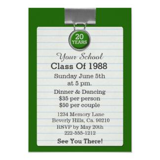 Metal Clip Notepaper Green Class Reunion Card