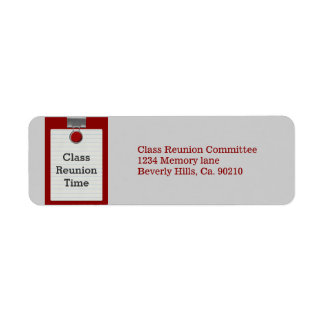 Metal Clip Notepaper Red Class Reunion Label