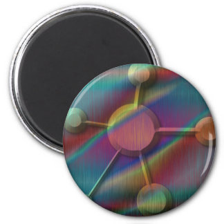 Metal coloreado con la molécula biselada imán redondo 5 cm