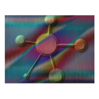 Metal coloreado con la molécula biselada postales