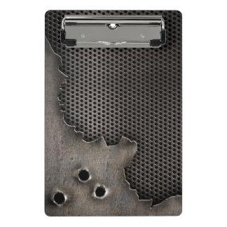 Metal con el fondo de los agujeros de bala minicarpeta de pinza
