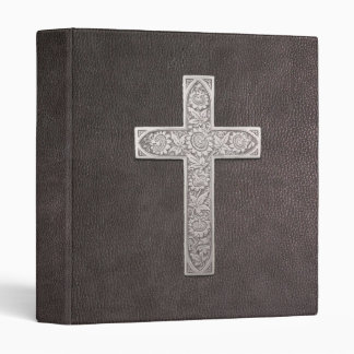 Metal Cross On Dark Leather 3 Ring Binder