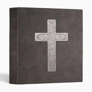 Metal Cross On Dark Leather Vinyl Binder
