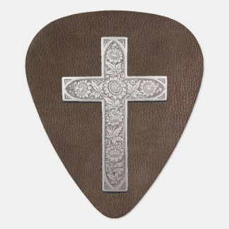 Metal Cross On Dark Leather Guitar Pick
