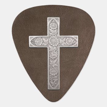 Metal Cross On Dark Leather Guitar Pick by wheresmymojo at Zazzle