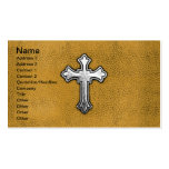 Metal Cross on Gold Leather Business Card