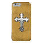 Metal Cross on Gold Leather Barely There iPhone 6 Case