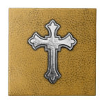 Metal Cross on Gold Leather Ceramic Tiles