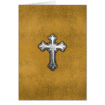 Metal Cross on Gold Leather Greeting Card