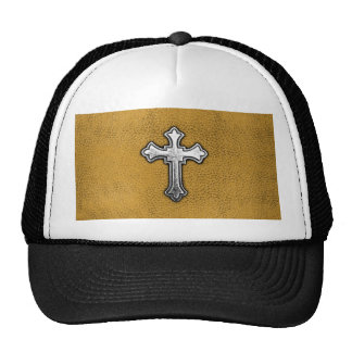 Metal Cross on Gold Leather Hats