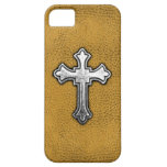 Metal Cross on Gold Leather iPhone 5 Cases