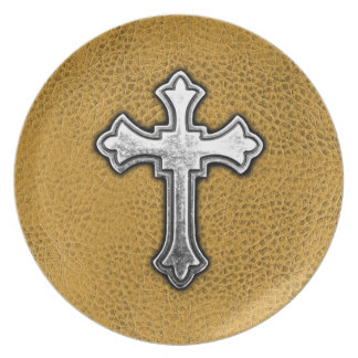 Metal Cross on Gold Leather Plate