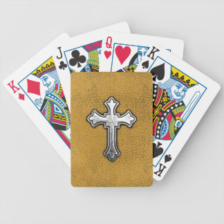 Metal Cross on Gold Leather Poker Deck