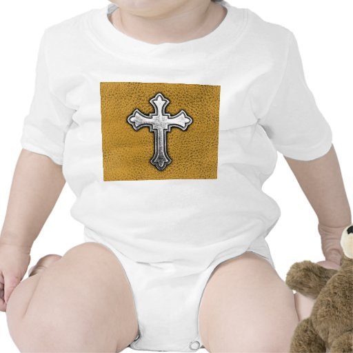 Metal Cross on Gold Leather Rompers