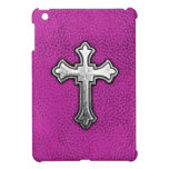 Metal Cross on Pink Leather Case For The iPad Mini
