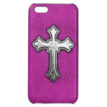 Metal Cross on Pink Leather iPhone 5C Cases