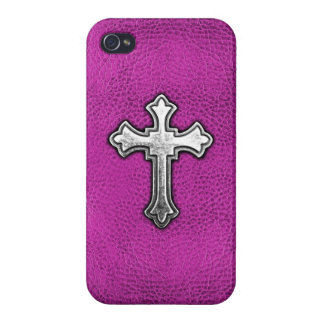 Metal Cross on Pink Leather Case For iPhone 4