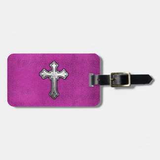 Metal Cross on Pink Leather Luggage Tag