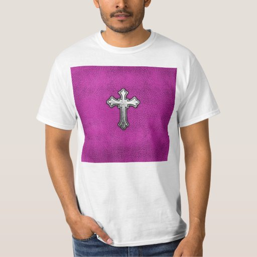 Metal Cross on Pink Leather T-Shirt