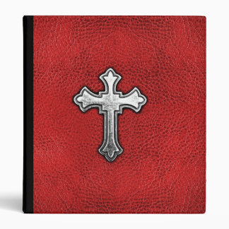 Metal Cross on Red Leather Binder