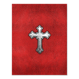 Metal Cross on Red Leather Card