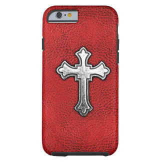 Metal Cross on Red Leather Tough iPhone 6 Case