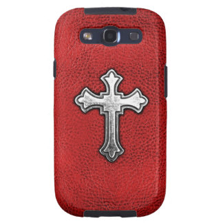 Metal Cross on Red Leather Samsung Galaxy SIII Cover
