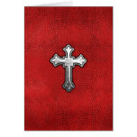 Metal Cross on Red Leather Greeting Card