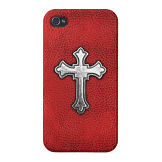 Metal Cross on Red Leather Cover For iPhone 4