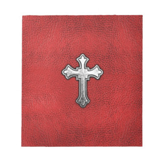 Metal Cross on Red Leather Memo Pads