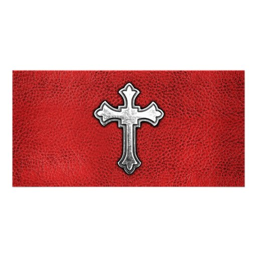 Metal Cross on Red Leather Photo Greeting Card