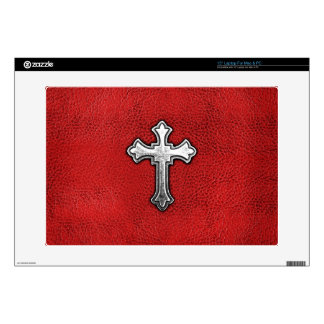 """Metal Cross on Red Leather Decal For 15"""" Laptop"""