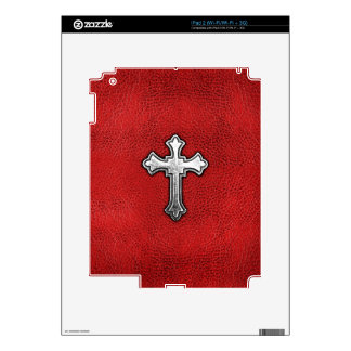 Metal Cross on Red Leather Skin For The iPad 2