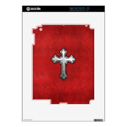 Metal Cross on Red Leather Skins For The iPad 2