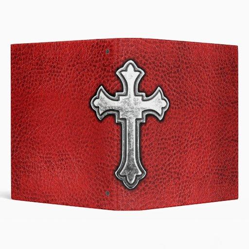 Metal Cross on Red Leather Vinyl Binders