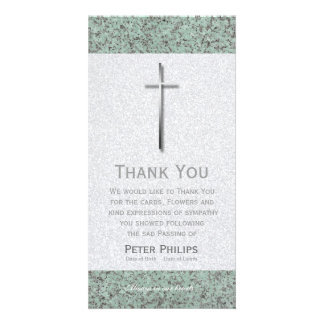 Metal Cross Stone 1 Funeral Thank You Photo Card