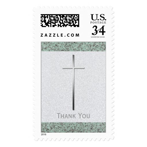 Metal Cross / Stone Funeral Thank You Stamps