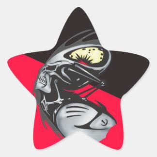 Metal Cyborg Skull Warrior Star Sticker