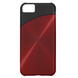 Metal de acero brillante rojo negro funda para iPhone 5C