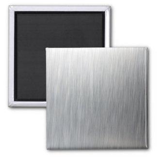 Metal de aluminio cepillado imán cuadrado
