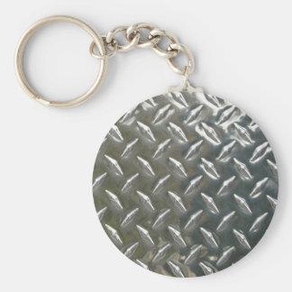 Metal de aluminio Checkerplate Llavero Redondo Tipo Pin