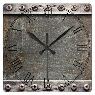 Metal de aluminio de acero retro reloj cuadrado