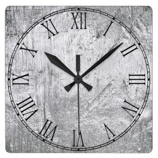 Metal de aluminio retro reloj cuadrado